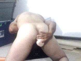 Deep anal dildo fuck
