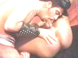 Fabulous male pornstar in hottest leather, rimming homosexual sex clip