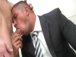 Poolside gay dream with horny businessman