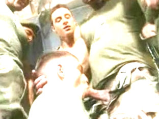 Military gay gangbang with seven dudes
