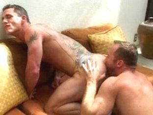 Horny male pornstars Jon Ashe and Paul Johnson in crazy tattoos, hunks homo adult clip