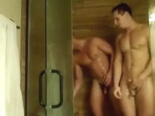 Two horny guys exhibit under shower