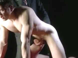 Sexy jock jerked by older guy in kinky gay scene
