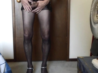 Pantyhose Mini Skirt and Strappy Heels 2