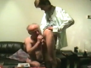 Grandpa and college girl er play on cam