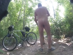 Mature guys meet in woods