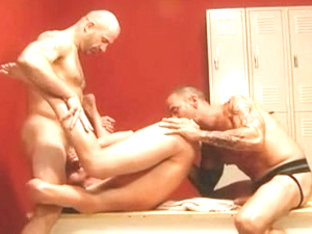 3 men fucking hard in the locker room.