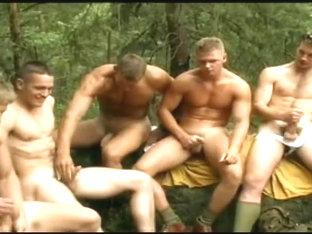 Massive group masturbation trip looks gay