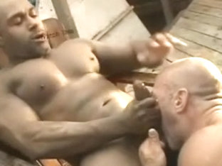 Muscle bear drilled by large dark pecker