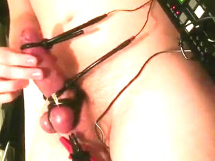 Hands free cum by needles and electro box