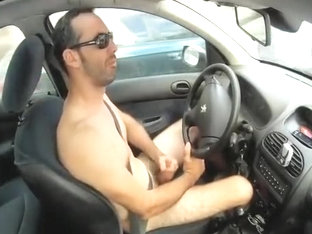co-worker jerking off in car
