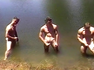 Four Men Have A Circle Jerk At The Lake