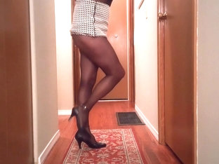 SL4UA Holly In Checkered Mini Black Pantyhose Heels Tease