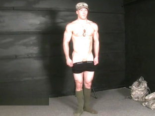 HUSG Brad 1 l marine stand at attention with only socks and shorts on