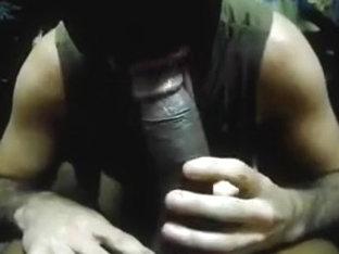 Sucking enormous black mandy's cock