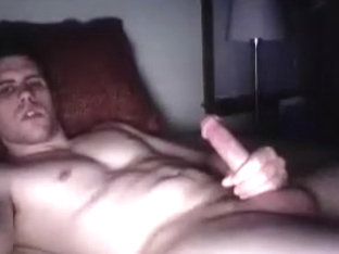 Hot fagot is jerking off within doors and shooting himself on camera