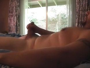 jerk and cum with curtains open