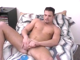 Beefy Stud Uses Both Hands On His Cock