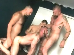Buffed Daddy Jerks Off In The Bathroom