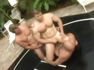 poolside wrestling threesome scene 2