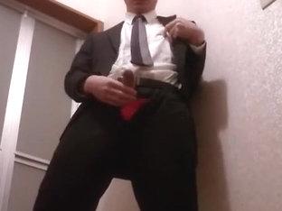 cum twice with wearing costume