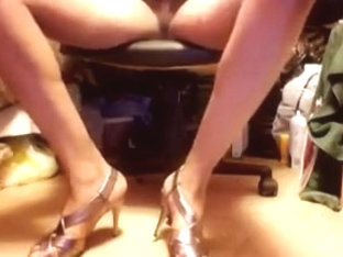 Enjoying gold strapped heels and upskirt