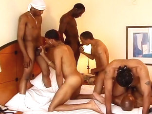 Steamy Five Man Black Orgy In Hotel Room
