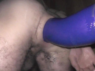 Ass Wrecked by Huge Blue Dildo - closeup solo deep