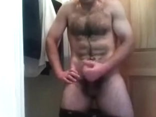 Winsome homosexual is jerking off in his room and shooting himself on camera