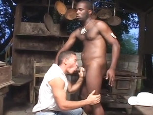 Black Ass Fucks White Dude In the Barn