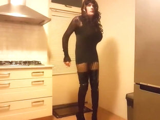 Smoking a cigarette in my black lingerie   hooker boots