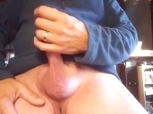 Stroking my hard cock
