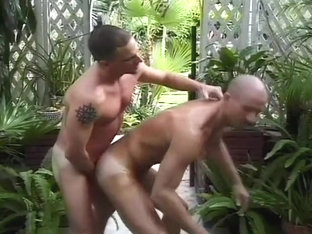 Shaven Headed Guys Fuck In Public Garden