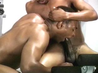Hunky Gay Black Musclemen Fuck on Bench