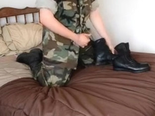 Military uniform and army boots