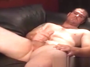 Beefy Construction worker stroking