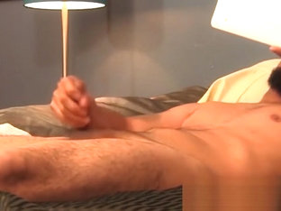 Hairy young gay fucking his toy after a good cock rubbing