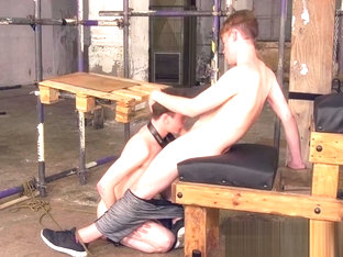 Submissive twink endures face fucking by dominant master
