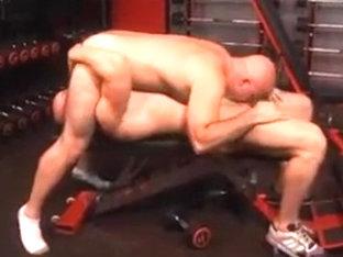 Men at the gym.