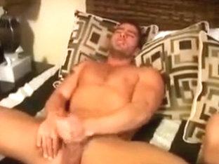 Hot guys jerk off in bed