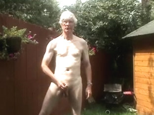 Outdoor disrobe,anal play and jack off with commentary and cum