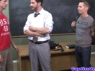 Teacher gets bukkake from student jocks