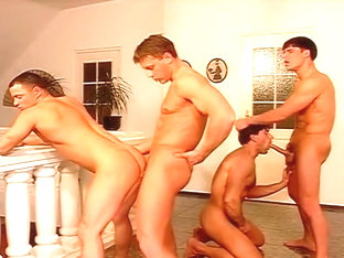 Horny Euro Hunks in Gay Foursome