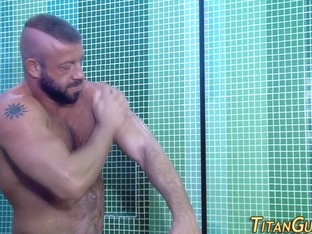 Shower ripped hunk fuck