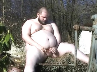 soc in the garden - obese bulky jerking outdoors