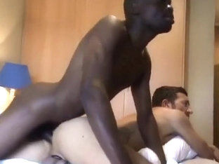 Black dick fills his asshole