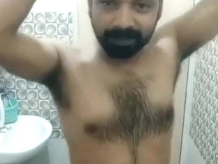 Desi Hairy Guy Taking Bath