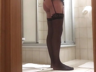 Nice ass with stockings and ass plug