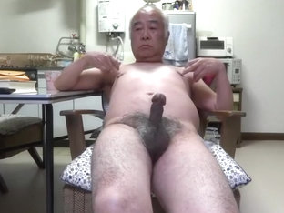 Japanese old man Penis twitch to the touch nipples