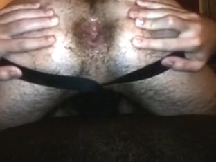 hairy boy shows off man`s internal cumshot